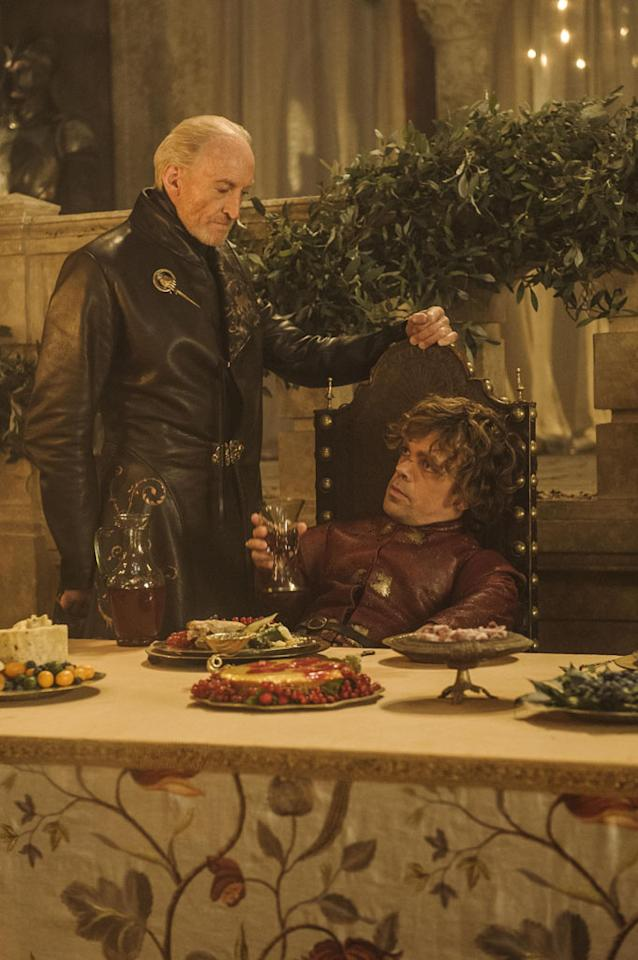 "Charles Dance and Peter Dinklage in the ""Game of Thrones"" episode, ""Second Sons."""