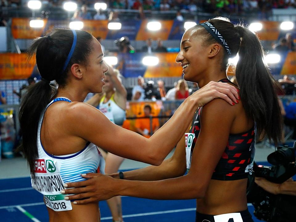 Nafi Thiam (right) and Katarina Johnson-Thompson could renew their duel in Tokyo (AP)