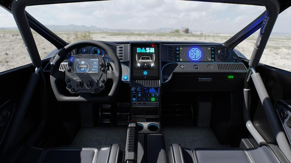 The electric UTV has a high-tech dash just like a Tesla. - Credit: Battle Approved Motors