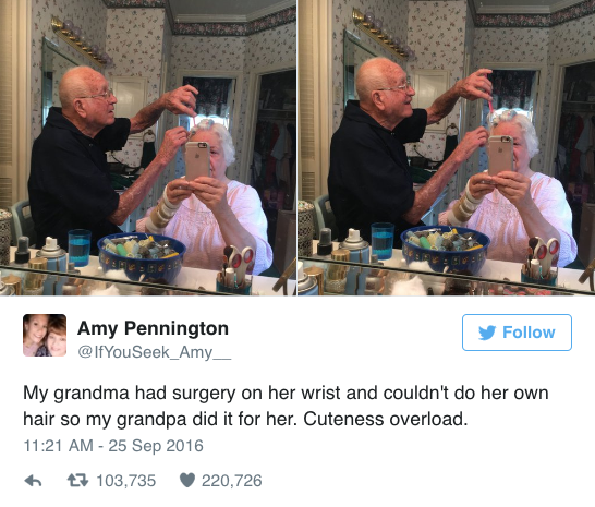 A Photo of a Grandpa Doing His Wife's Hair Went Viral on Twitter.