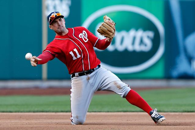 ST LOUIS, MO - OCTOBER 08: Ryan Zimmerman #11 of the Washington Nationals throws out David Freese #23 of the St. Louis Cardinals at first base in the fourth inning during Game Two of the National League Division Series at Busch Stadium on October 8, 2012 in St Louis, Missouri. (Photo by Jamie Squire/Getty Images)