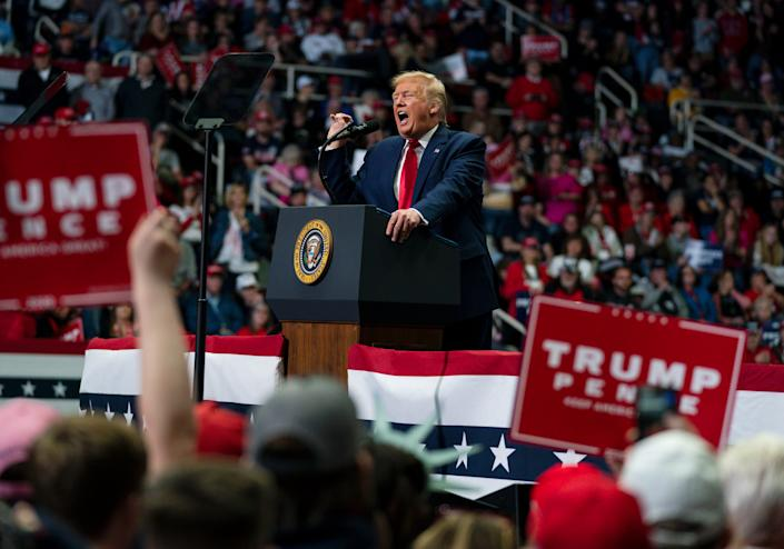President Donald Trump at his most recent political rally, March 2 in Charlotte.
