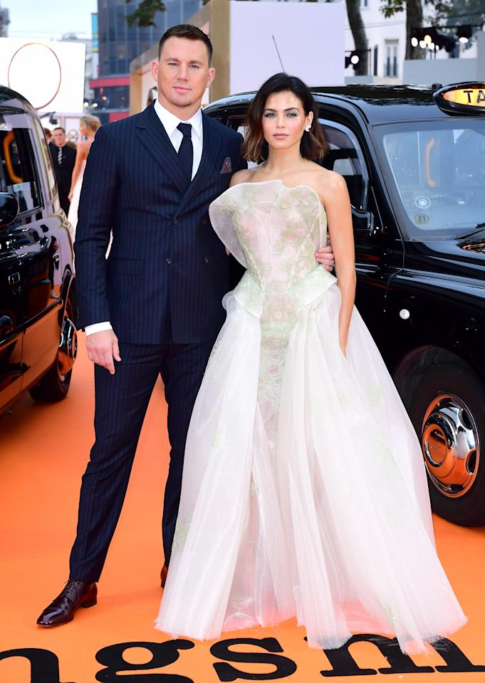 <p>Channing and his pinstriped suit were overshadowed by wife Jenna who stunned in a leaf-embroidered gown from Zac Posen's SS17 collection.<br /><i>[Photo: PA]</i> </p>