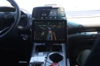 A screen showing traffic and other objects is seen inside a vehicle equipped with Pony.ai's self-driving technology during a demonstration in Fremont
