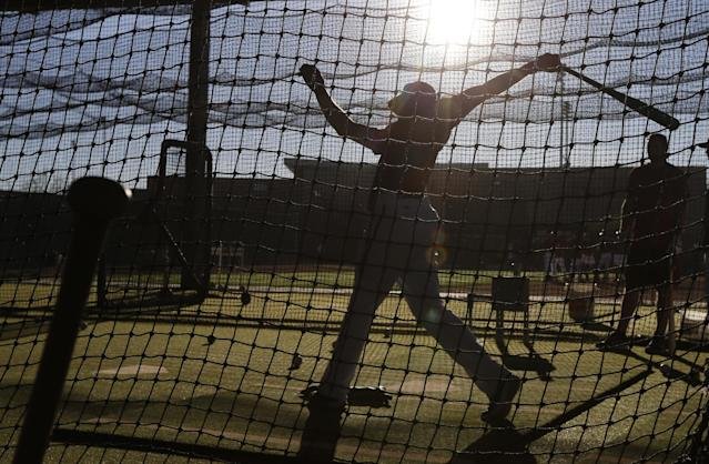 Arizona Diamondbacks first baseman Paul Goldschmidt hits during spring training baseball practice Wednesday, Feb. 12, 2014, in Scottsdale, Ariz. (AP Photo/Gregory Bull)