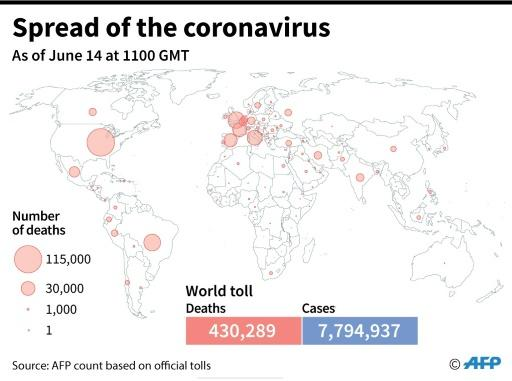 A world map showing the official number of coronavirus cases per country