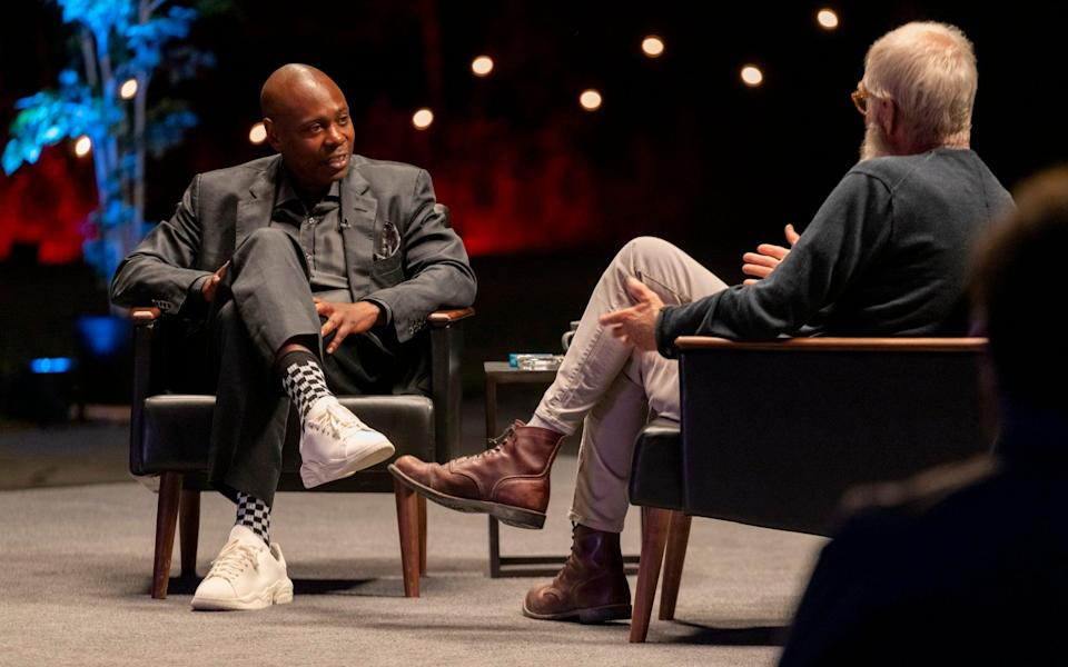 Dave Chappelle being interviewed by David Letterman in 2020 - NETFLIX