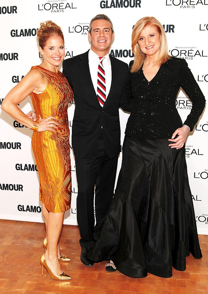 Talk about a powerful pack of media moguls! Newly-minted talk show host Katie Couric cozied up to Bravo's Andy Cohen and HuffPo's Arianna Huffington. (11/12/12)