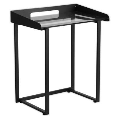 """<h3>Flash Furniture Tempered Glass Desk</h3><br>Going for sharp and sleek tiny-desk vibes? Try this 32-inch, black-tempered glass style that will only cost you $64 buckeroos. <br><br><strong>Flash Furniture</strong> 32.25-Inch Tempered Glass Desk in Black, $, available at <a href=""""https://go.skimresources.com/?id=30283X879131&url=https%3A%2F%2Fwww.bedbathandbeyond.com%2Fstore%2Fproduct%2Fflash-furniture-32-25-inch-tempered-glass-desk-in-black%2F1061755758"""" rel=""""nofollow noopener"""" target=""""_blank"""" data-ylk=""""slk:Bed Bath and Beyond"""" class=""""link rapid-noclick-resp"""">Bed Bath and Beyond</a>"""