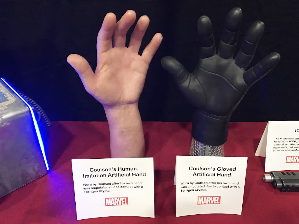 """<p><i>Worn by Coulson after his own hand was amputated due to contact with a Terrigen Crystal.</i><br /> """"He was a little freaked out by it,"""" says Bauer of Clark Gregg's first impression of his """"human"""" hand. They have a shoulder rig to hide his real arm when they need to remove the hand on screen.<br />(Credit: Yahoo TV) </p>"""