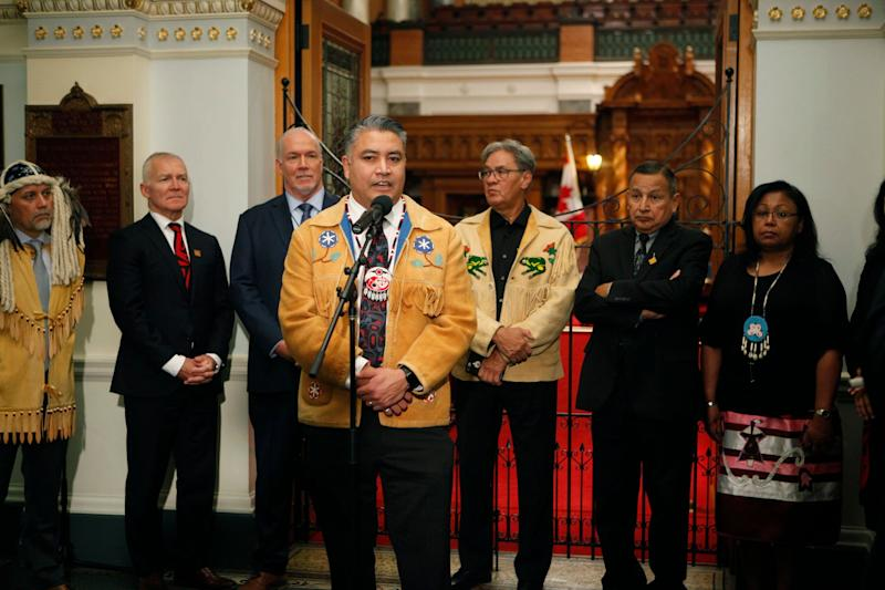 Regional Chief Terry Teegee speaks to the press in Victoria, on Oct. 24, 2019. (Photo: Chad Hipolito/THE CANADIAN PRESS)