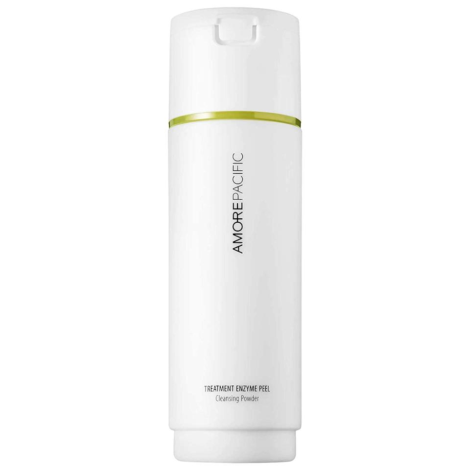 "<p>If the word ""peel"" usually has you (and your sensitive skin) running for the hills, Amorepacific's Treatment Enzyme Peel is about to change your perception. Unlike typical <a href=""https://www.allure.com/gallery/at-home-face-peels-under-20-2015?mbid=synd_yahoo_rss"" rel=""nofollow noopener"" target=""_blank"" data-ylk=""slk:at-home peels"" class=""link rapid-noclick-resp"">at-home peels</a>, this is a gentle exfoliating powder that, when mixed in with water, turns into a weightless cleansing foam that hugs your face. Plant-derived enzymes stemming from papaya and green tea deep cleanse pores, removing dirt and dead skin cells that can dull your glow. You can use it daily, or as often as you'd like. </p> <p>Korean American singer <a href=""https://www.allure.com/story/tiffany-young-interview-k-pop-beauty?mbid=synd_yahoo_rss"" rel=""nofollow noopener"" target=""_blank"" data-ylk=""slk:Tiffany Young"" class=""link rapid-noclick-resp"">Tiffany Young</a> (who has <em>amazing</em> skin) also swears by this mild treatment for its potent brightening abilities. In a fast-moving K-beauty world — where innovations and reformulations are constant and expected — this is a K-beauty staple we hope doesn't change much.</p> $60, Amazon. <a href=""https://www.amazon.com/AMOREPACIFIC-Treatment-Cleansing-Exfoliating-Cleanser/dp/B086DXFLPV"" rel=""nofollow noopener"" target=""_blank"" data-ylk=""slk:Get it now!"" class=""link rapid-noclick-resp"">Get it now!</a>"