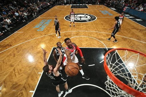 BROOKLYN, NY - FEBRUARY 27: Jeff Green #32 of the Washington Wizards goes to the basket against the Brooklyn Nets on February 27, 2019 at Barclays Center in Brooklyn, New York. (Photo by Nathaniel S. Butler/NBAE via Getty Images)