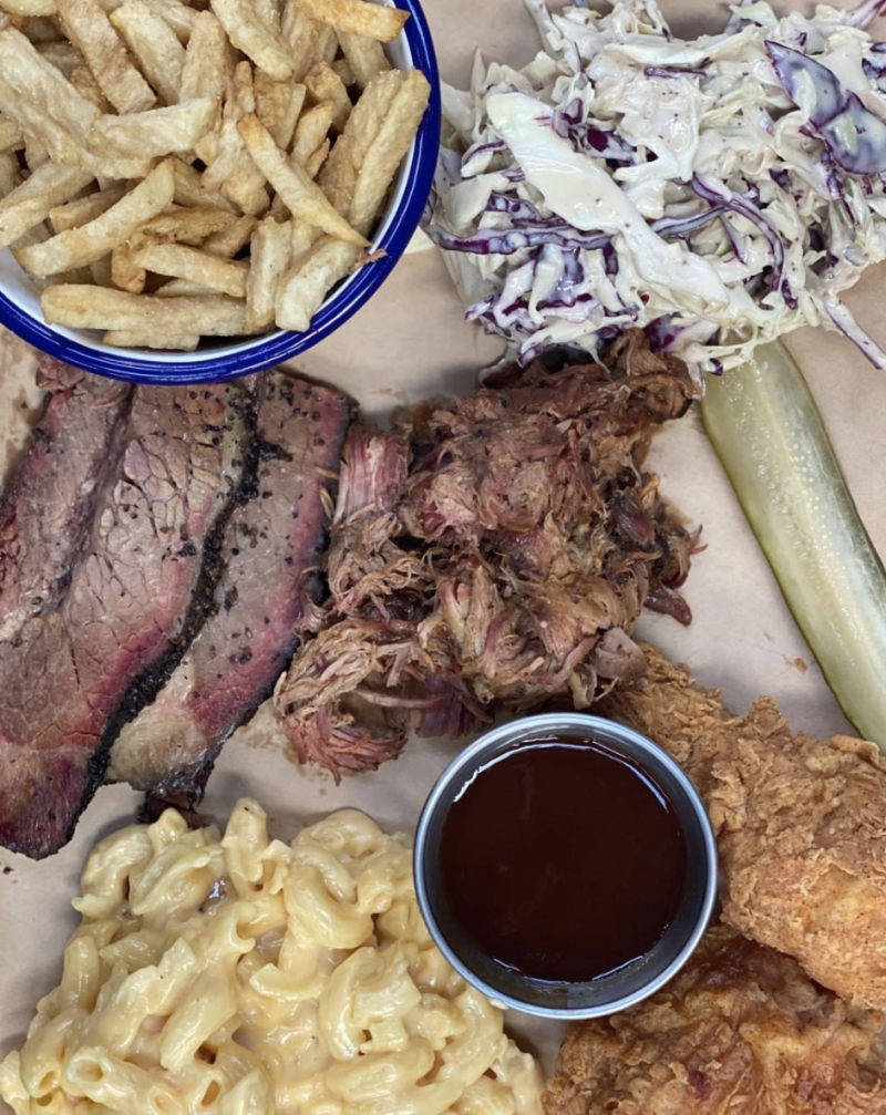 A meal of meat, chips, coleslaw and macaroni at Red Gum BBQ in Victoria.