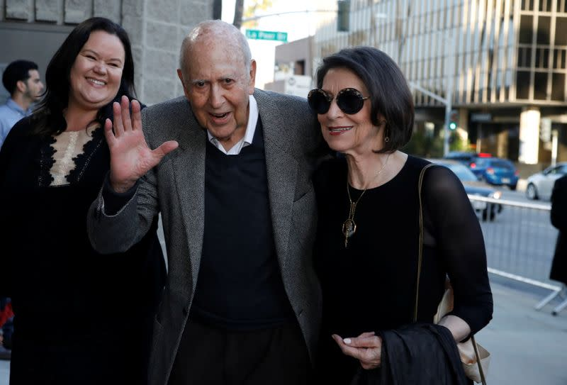 """Actor Reiner and his wife Estelle pose at a premiere of the HBO documentary """"If You're Not In the Obit, Eat Breakfast"""" in Beverly Hills"""