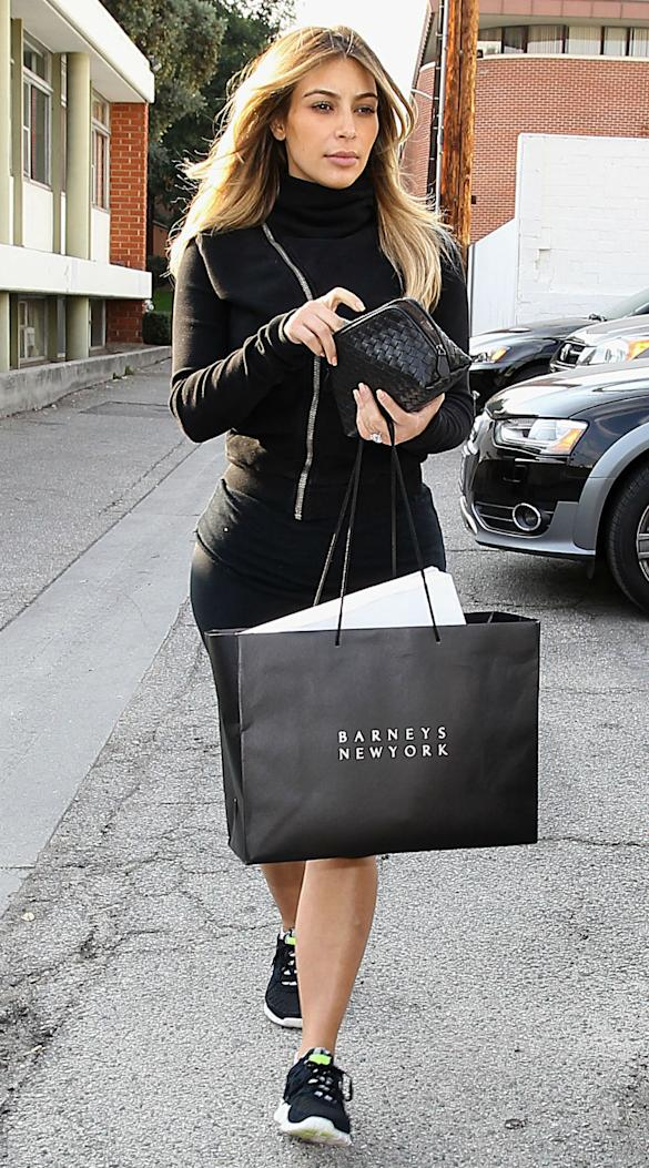 Those Curves! Kim Kardashian Goes Christmas Shopping In Beverly Hills In Tight Black Gym Outfit