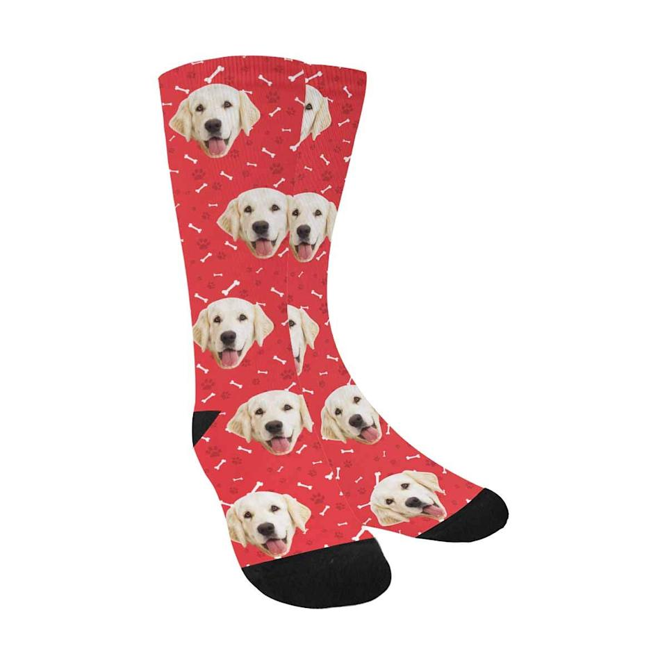 """<h3><a href=""""https://amzn.to/2P4RLTZ"""" rel=""""nofollow noopener"""" target=""""_blank"""" data-ylk=""""slk:Custom-Printed Photo Socks"""" class=""""link rapid-noclick-resp"""">Custom-Printed Photo Socks</a></h3><br>Now they can wear their pup pride on their feet with a pair of photo socks that are custom printed with their beloved pet's cuddly mug. <br><br><strong>MyPupSocks</strong> Custom Printed Photo Socks, $, available at <a href=""""https://amzn.to/2P4RLTZ"""" rel=""""nofollow noopener"""" target=""""_blank"""" data-ylk=""""slk:Amazon"""" class=""""link rapid-noclick-resp"""">Amazon</a>"""