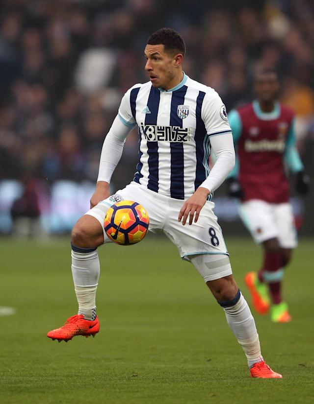 <p>Jake Livermore launches a West Brom attack</p>