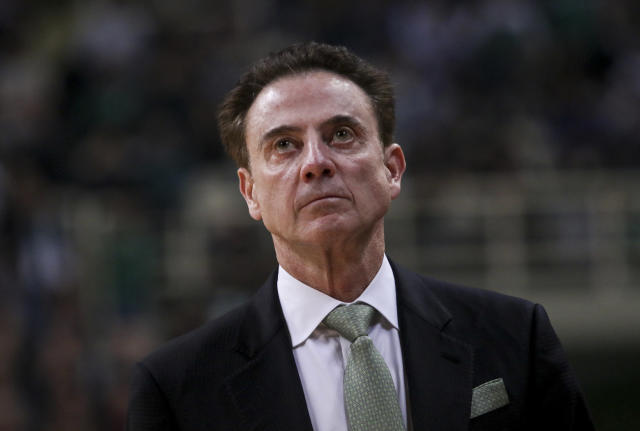 Panathinaikos coach Rick Pitino looks on during a game between Panathinaikos Opap Athens and FC Barcelona on Feb. 21, 2020. (Panagiotis Moschandreou/Getty Images)