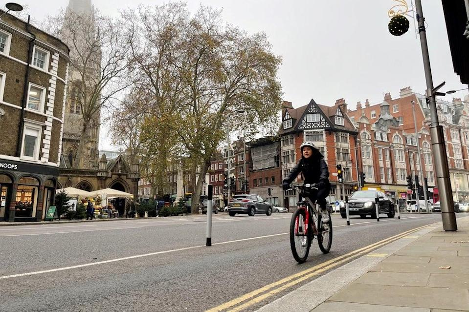 On your bike: a cyclist using Kensington High Street's short-lived cycle lane  (Elliot Wagland)