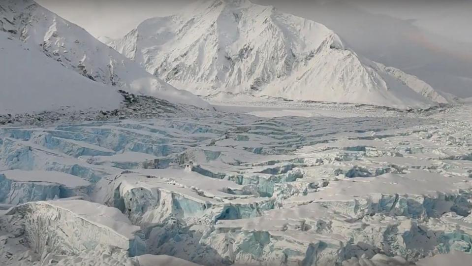 The Muldrow glacier flowing off the Denali peak in Alaska, has begun moving at 10 to 100 times faster than its normal speed.