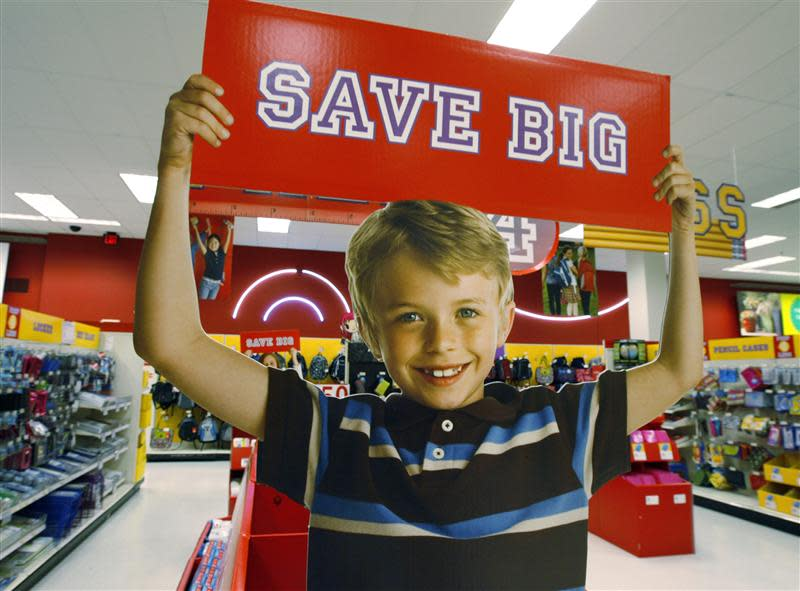 A signage offering big savings is pictured at a Target store in Los Angeles