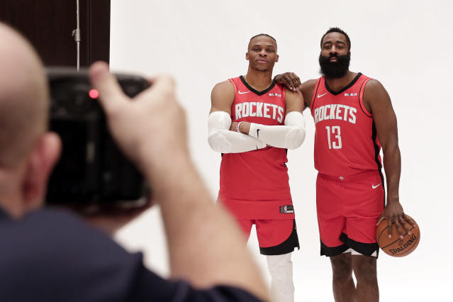 Houston Rockets' Russell Westbrook and James Harden, right, are photographed together during NBA basketball media day Friday, Sept. 27, 2019, in Houston. (AP Photo/Michael Wyke)