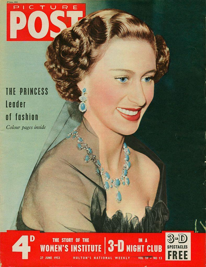"""<p>Jewelry-wise, Princess Margaret is most famously associated with her <a href=""""https://www.townandcountrymag.com/style/jewelry-and-watches/a29956538/princess-margaret-poltimore-tiara/"""" rel=""""nofollow noopener"""" target=""""_blank"""" data-ylk=""""slk:beloved Poltimore Tiara"""" class=""""link rapid-noclick-resp"""">beloved Poltimore Tiara</a> (aka <a href=""""https://www.townandcountrymag.com/society/tradition/a29610621/princess-margaret-the-crown-bathtub-tiara-photo-true-story/"""" rel=""""nofollow noopener"""" target=""""_blank"""" data-ylk=""""slk:the bathtub tiara"""" class=""""link rapid-noclick-resp"""">the bathtub tiara</a>), but her turquoise jewels were just as legendary. The Queen Mother received a parure and tiara crafted of prized Persian turquoise as a wedding gift from her in-laws, Queen Mary and King George V, in 1923. In 1951, she passed on the Turquoise Parure to daughter Princess Margaret as a 21st birthday gift. Here, Margaret wore the earrings and necklace in a photo that appeared on the cover of <em>Picture Post </em>in 1953.</p>"""