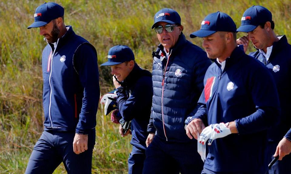 Team USA on a practice round at Whistling Straits this week, including Bryson DeChambeau (second from right) and vice-captain Phil Mickelson (centre).