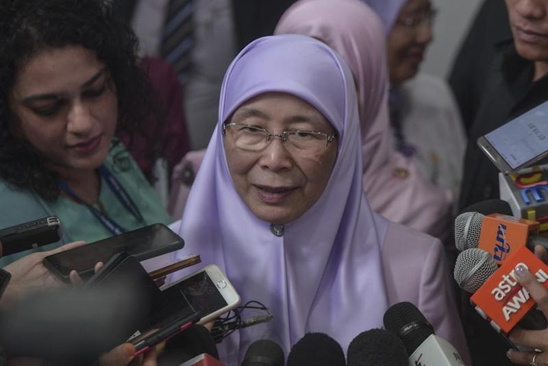 Deputy Prime Minister Datuk Seri Dr Wan Azizah Wan Ismail the Women, Family and Community Development Ministry agrees that there is a need for a specific law to protect senior citizens. ― Picture by Shafwan Zaidon
