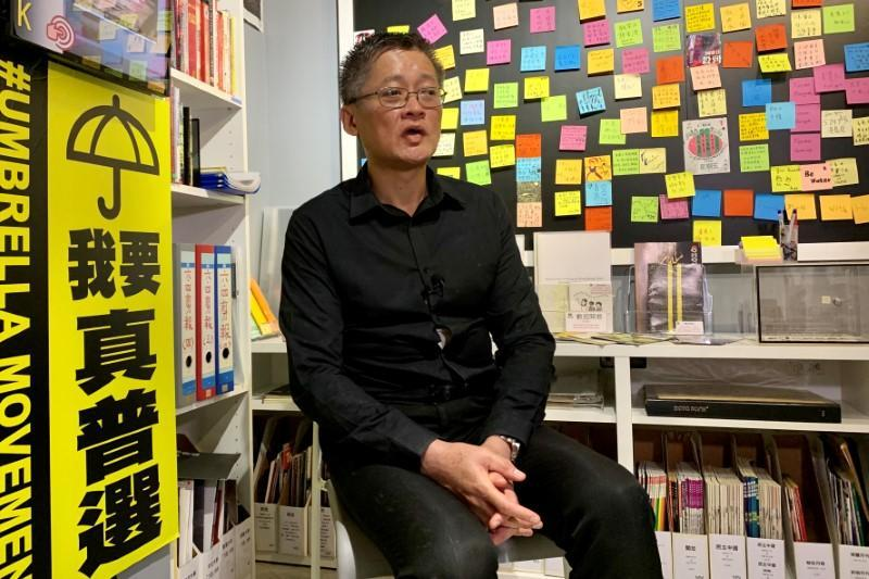 Former Hong Kong student leader Chan Ching-wah speaks to Reuters at the June 4th Museum in Hong Kong