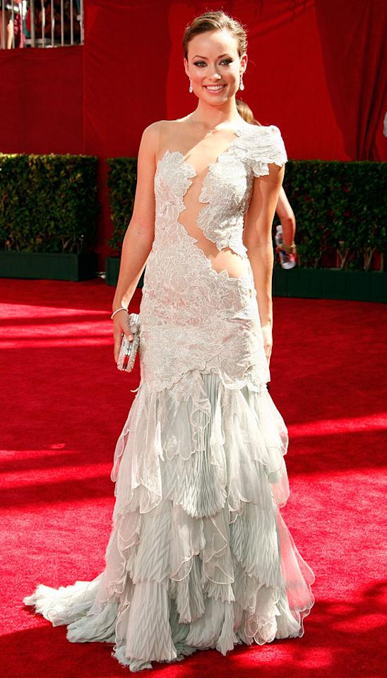 "Olivia Wilde (""House"") arrives at the 61st Annual Primetime Emmy Awards at the Nokia Theatre on September 20, 2009, in Los Angeles."