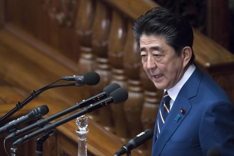 TOKYO, JAPAN - JANUARY 20: Japan's Prime Minister Shinzo Abe delivers his policy speech at the lower house of the parliament on January 20, 2020 in Tokyo, Japan. The Japanese Diet convened a 150-day ordinary session today. (Photo by Tomohiro Ohsumi/Getty Images)