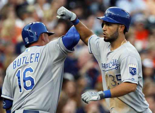 Kansas City Royals' Eric Hosmer (35) celebrates his two-run home run with Billy Butler (16) in the third inning during the second game of a doubleheader baseball game against the Detroit Tigers Friday, Aug. 16, 2013, in Detroit. (AP Photo/Duane Burleson)