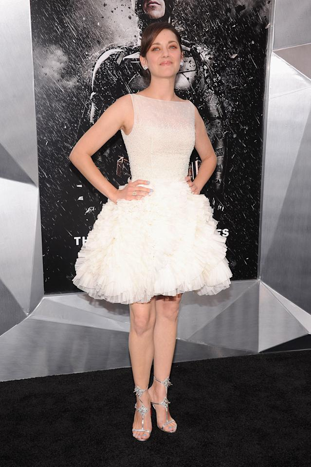 """Marion Cotillard arrive at the New York City premiere of """"The Dark Knight Rises"""" on July 16, 2012."""