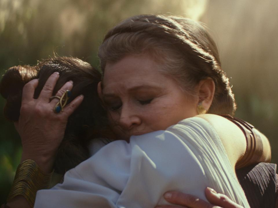 <p>A last goodbye: Leia (Carrie Fisher) embraces Rey (Daisy Ridley) in 2019's The Rise of Skywalker</p>Lucasfilm Ltd