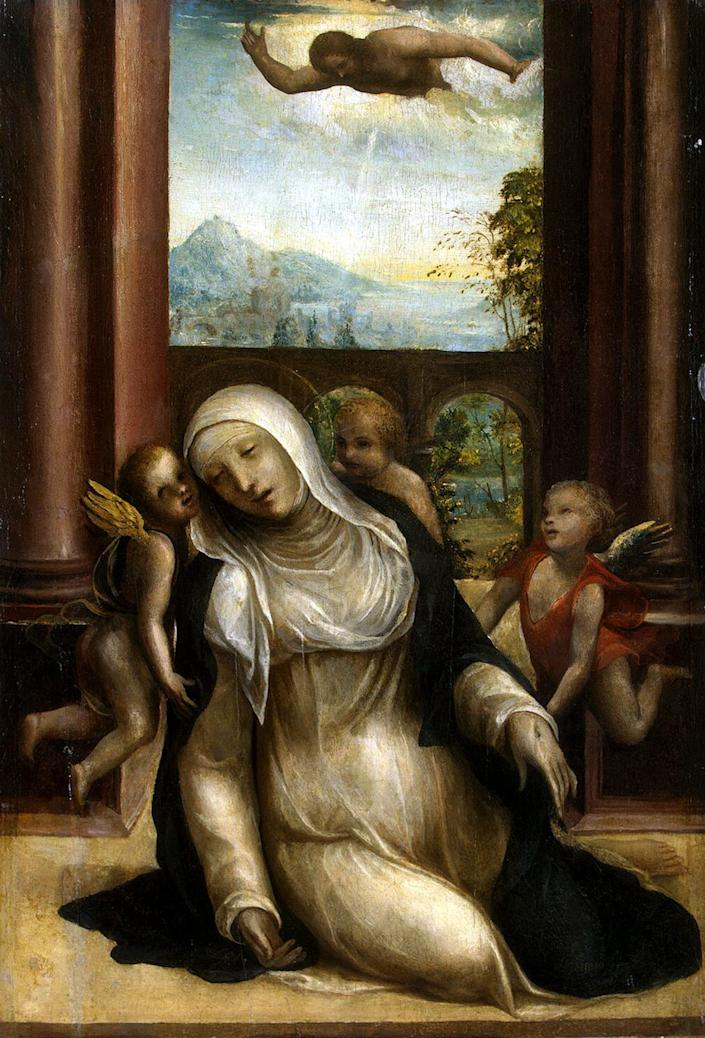 """The second-youngest of 25 children, <a href=""""http://www.ncregister.com/blog/jimmy-akin/8-things-to-know-and-share-about-st.-catherine-of-siena"""">Catherine of Siena</a>is one of only two patron saints of Italy. Catherine believed herself to be spiritually wed to Jesus and committed herself to a monastic life as a teenager. She was a <a href=""""http://www.amazon.com/Setting-World-Fire-Astonishing-Catherine/dp/113727980X/ref=sr_1_1?ie=UTF8&qid=1442327019&sr=8-1&keywords=emling+AND+catherine"""">peacemaker</a>during the 1368 revolution in Siena and convinced Pope Gregory XI to return the papacy to Rome during a tumultuous time for the Catholic Church. One story from her life tells of Jesus appearing to her with a heart in his hands and saying, """"Dearest daughter, as I took your heart away from you the other day, now, you see, I am giving you mine, so that you can go on living with it for ever."""" She was canonized in 1461."""
