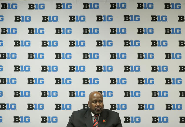 Maryland head coach Mark Locksley talks to reporters during the Big Ten Conference NCAA college football media days Thursday, July 18, 2019, in Chicago. (AP Photo/Charles Rex Arbogast)