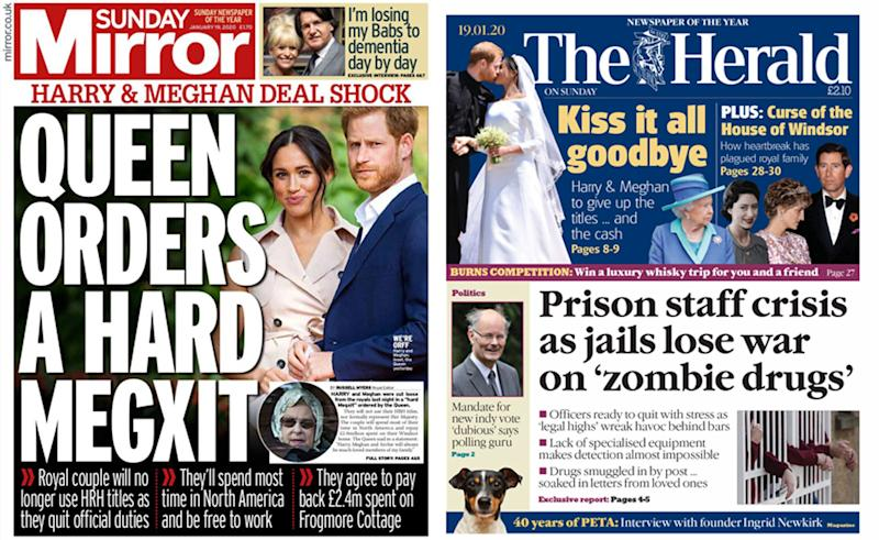 The Sunday Mirror and The Herald's front pages focusing on Prince Harry and Meghan leaving the royal family.