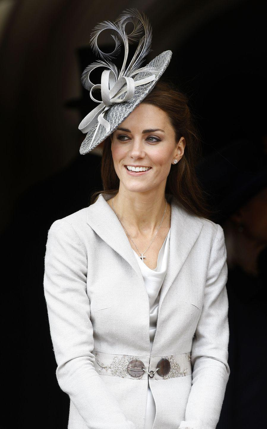 <p>This dove gray Katherine Hooker coat first came out when Kate attended the Order of the Garter service at Windsor Castle. </p>
