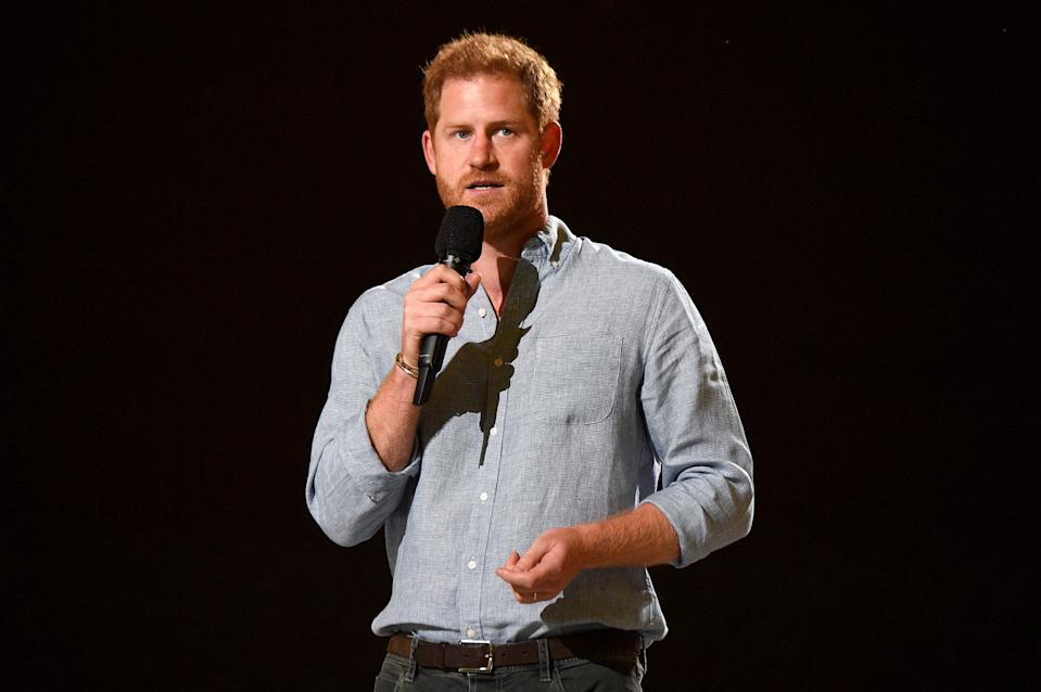 INGLEWOOD, CALIFORNIA: In this image released on May 2, Prince Harry, The Duke of Sussex speaks onstage during Global Citizen VAX LIVE: The Concert To Reunite The World at SoFi Stadium in Inglewood, California. Global Citizen VAX LIVE: The Concert To Reunite The World will be broadcast on May 8, 2021. (Photo by Kevin Mazur/Getty Images for Global Citizen VAX LIVE)