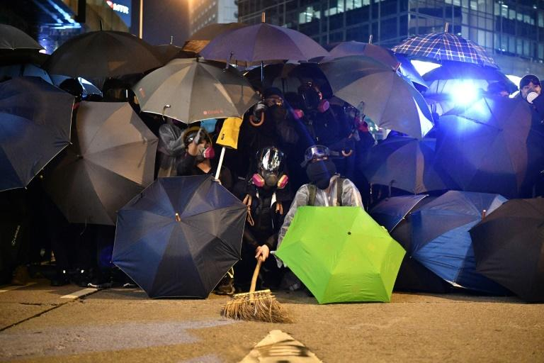 The last two weeks has seen a dramatic drop-off in clashes and vandalism in Hong Kong (AFP Photo/Anthony WALLACE)