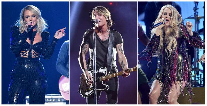 "This combination photo shows country music stars, from left, Miranda Lambert, Keith Urban and Carrie Underwood, who are among  23 performers that will be featured in ""ACM Presents: Our Country,"" an at-home country music special that is airing on CBS on April 5, in lieu of their delayed Academy of Country Music awards show. (AP Photo)"