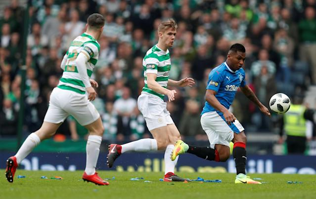 Soccer Football - Scottish Cup Semi Final - Celtic vs Rangers - Hampden Park, Glasgow, Britain - April 15, 2018 Rangers' Alfredo Morelos in action with Celtic's Kristoffer Ajer REUTERS/Russell Cheyne