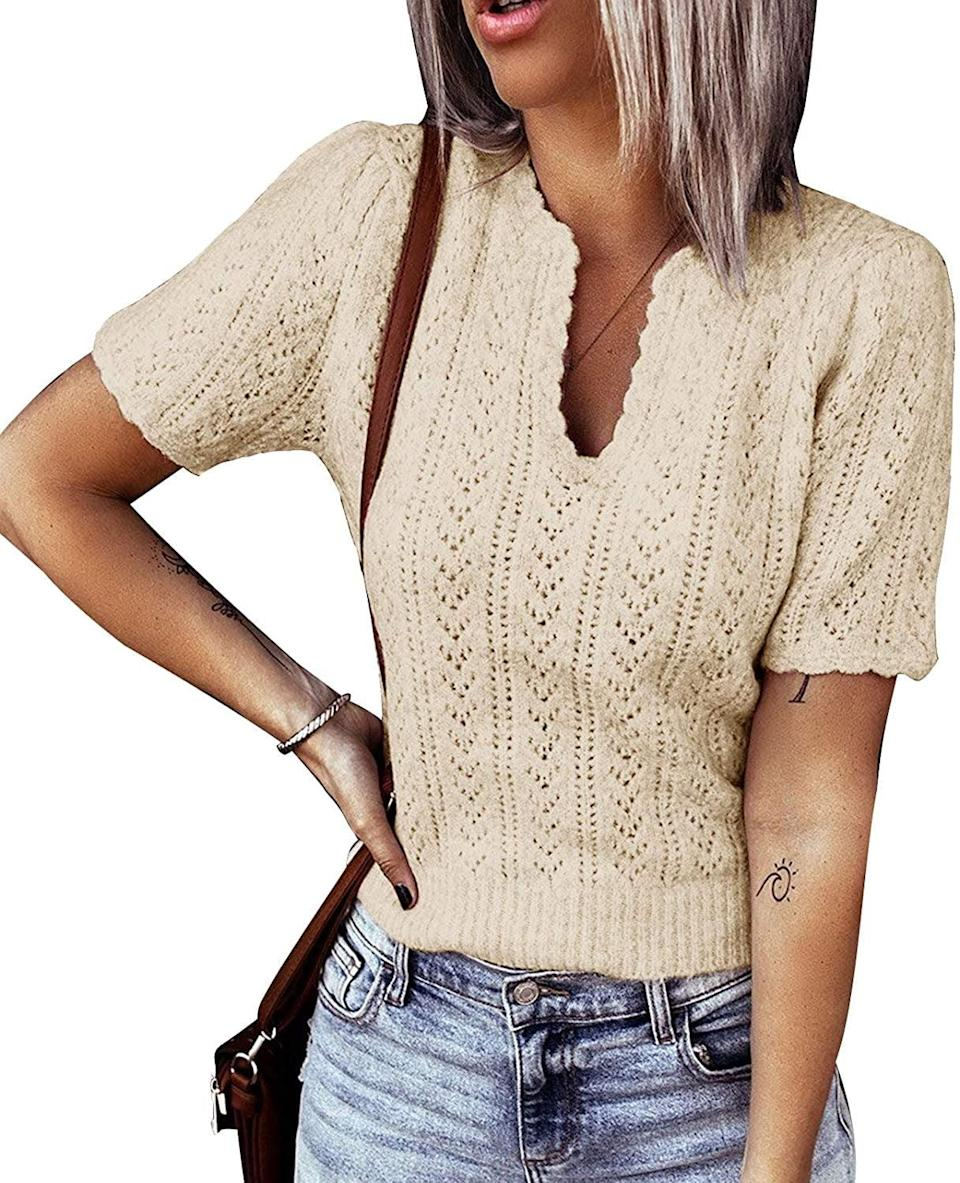 <p>This <span>Flysearcher Short Sleeve Sweater Shirt</span> ($23, originally $25) is a versatile pick you can style with jeans, a flowy skirt or denim shorts.</p>