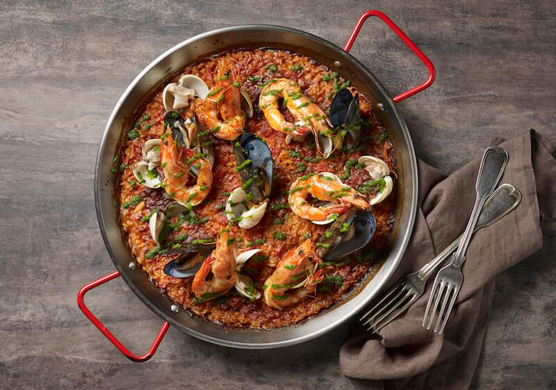 Paella De Mariscon, with prawns, clams, and mussels. Photo: The Alkaff Mansion