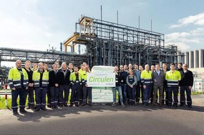 LyondellBasell production team in Wesseling, Germany shows off first batch of bio-polymer made from renewable materials.