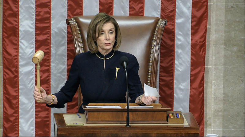 House Speaker Nancy Pelosi, announces the passage of the second article of impeachment, obstruction of Congress, against President Donald Trump. Source: AP