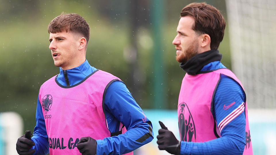 Chelsea and England teammates Mason Mount and Ben Chilwell are seen here at training.