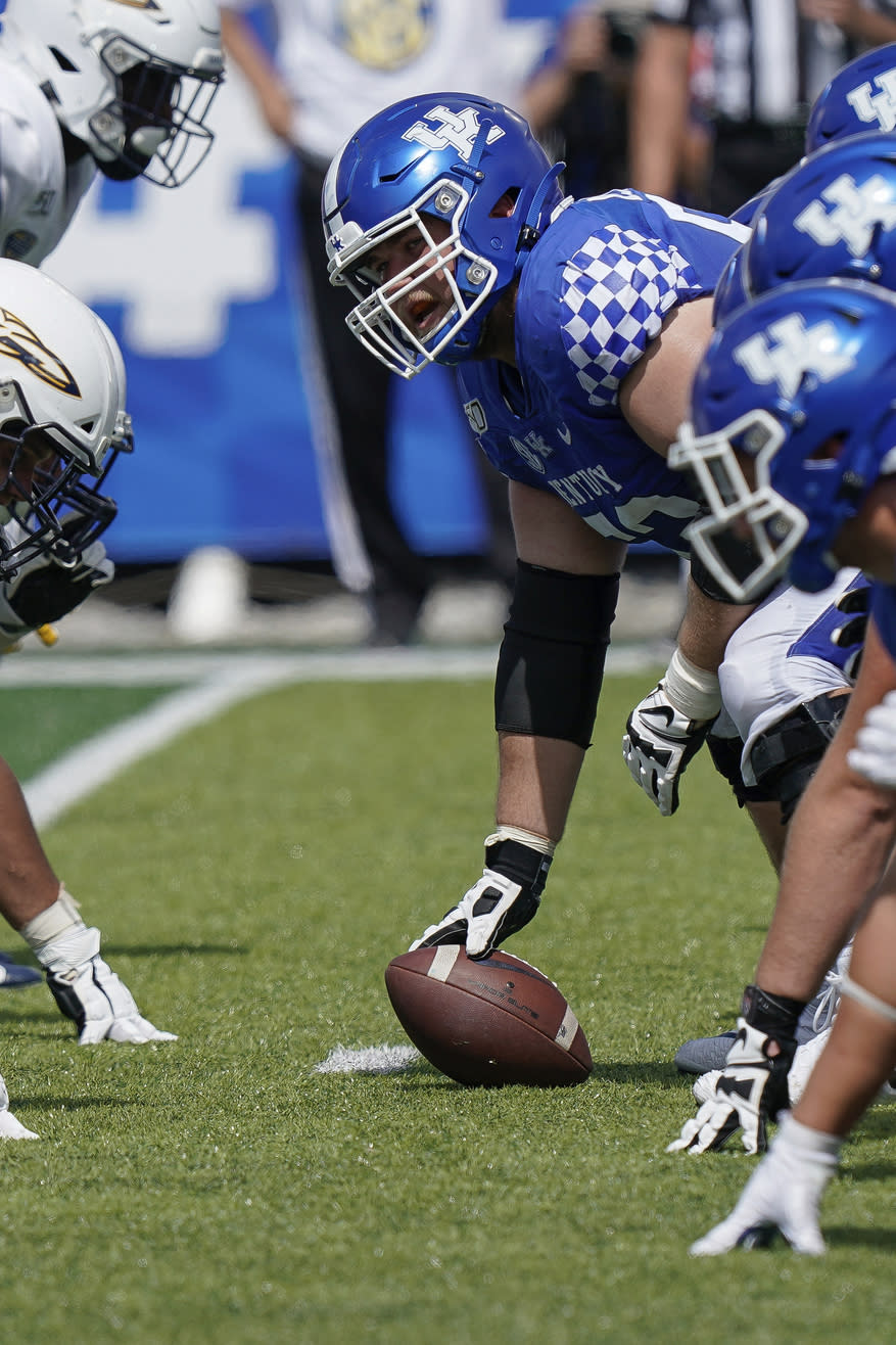 FILE - In this Aug. 31, 2019, file photo, Kentucky center Drake Jackson (52) calls out instructions to teammates during the second half of the NCAA college football game against Toledo, in Lexington, Ky. Jackson was selected to The Associated Press All-Southeastern Conference football team, Monday, Dec. 9, 2019. (AP Photo/Bryan Woolston, File)